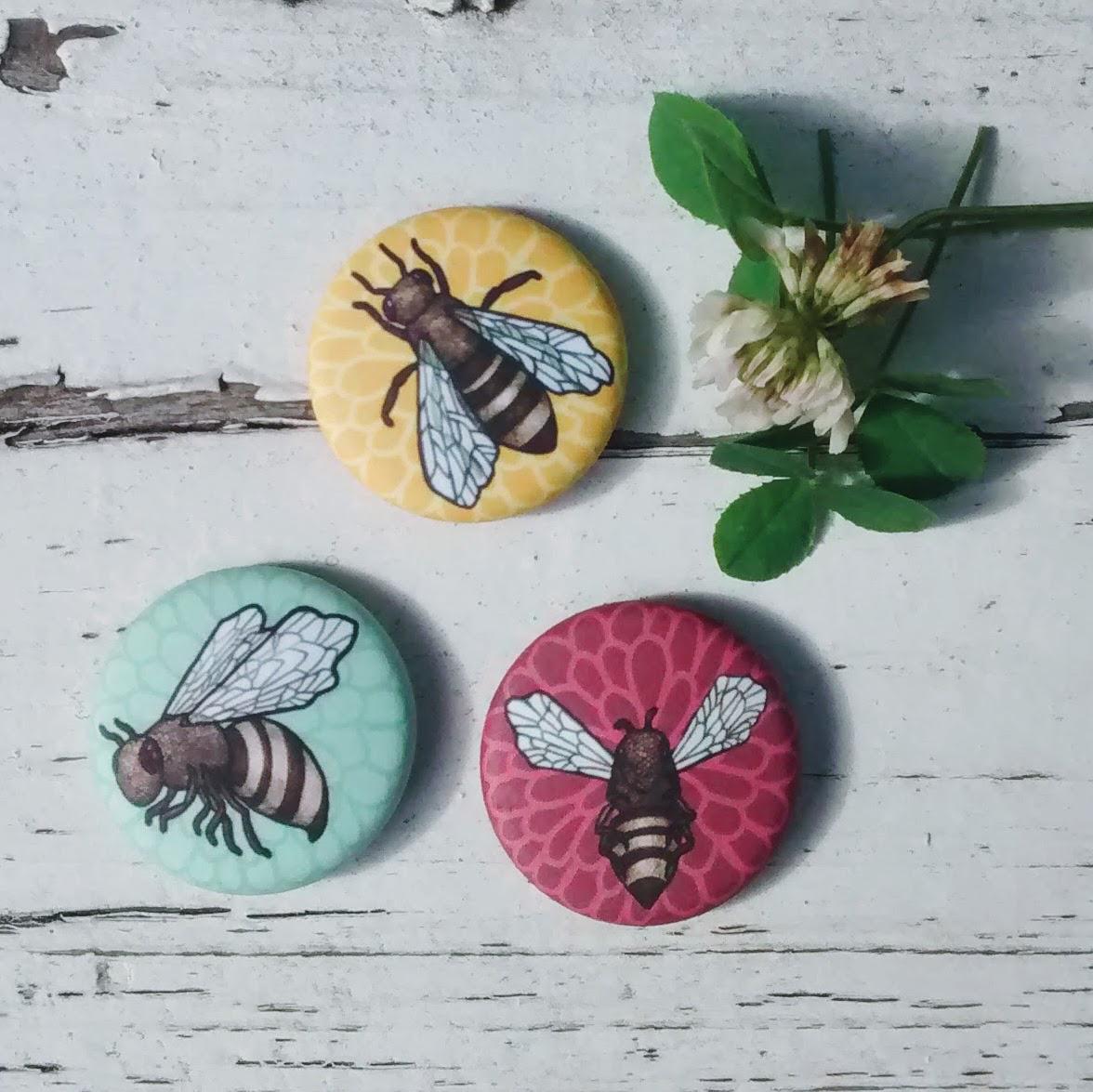 3 Pack Honeybee Buttons